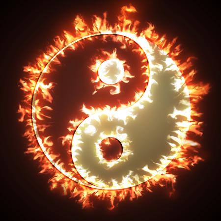 opposites: Yin and Yang symbol on fire. Concepts of: the bad inside the good and the good inside the bad in life, opposites, dark side, good and bad  Back background.