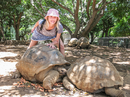 centenarian: Smiling young woman touching two centenarian tortoises in a natural park, Mauritius Island, Africa. Concept of young versus the old.