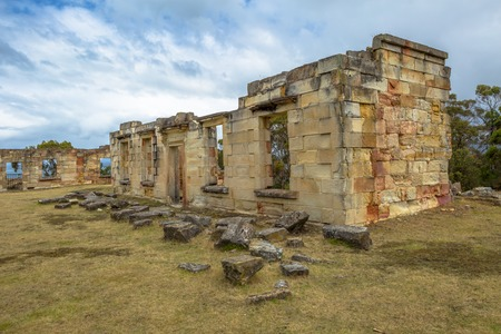 barracks: Coal Mines Historic Site c.1833, Saltwater River, Tasmanian Peninsula, Tasmania, Australia. Today, you may visit the picturesque ruins of houses, barracks, offices and punishment cells.