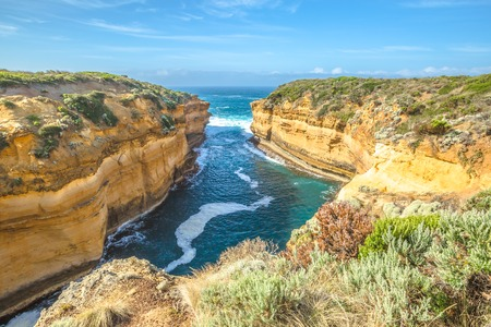 ard: Lookout Loch Ard Gorge in Port Campbell National Park in Great Ocean Road, Victoria State, South Australia. Shipwreck Walk begins from the the main carpark and extends along the side of the Gorge.