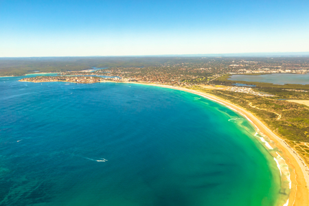 foreshore: Aerial view of Bate Bay located south of Sydney, New South Wales, in eastern Australia. The bay is south of the Kurnell peninsula and its foreshore makes up the beaches of Cronulla.