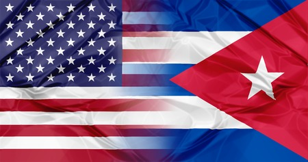 cold war: Cuba flag and United States of America flag united in a composition about partnership and co-operation