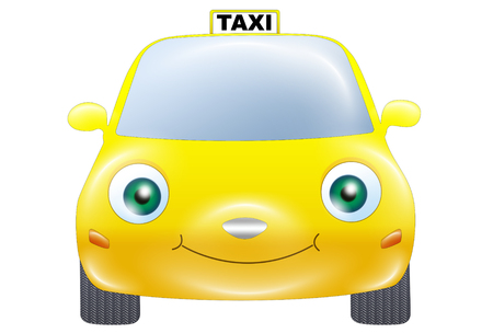 windscreen: Front view of a funny cartoon yellow taxi car with green eyes, smiling on a white background. Stock Photo