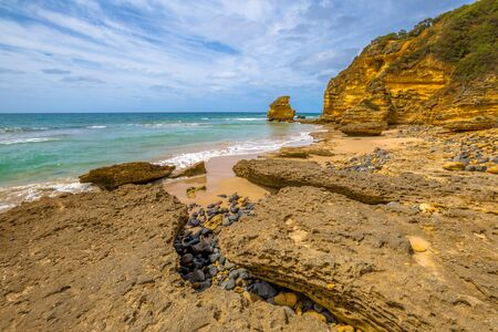 inlet: Spectacular Step Beach in Eagle Point Marine Sanctuary, located at Aireys Inlet on the Great Ocean Road, Vistoria, Australia. Stock Photo