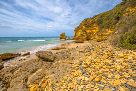 inlet: Step Spectacular Beach in Eagle Point Marine Sanctuary, located at Aireys Inlet on the Great Ocean Road, Victoria, Australia.