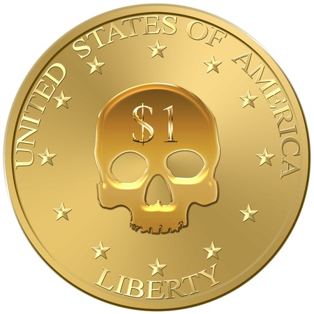 austerity: Dollar crisis and default. One coin with a skull in place of original symbol. Concepts for currency crisis, default, money policy, austerity and debt. Isolated on white background.
