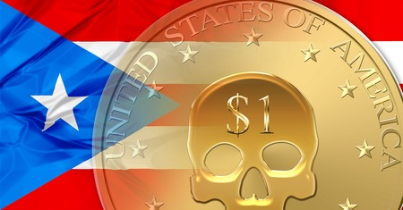 Flag of Puerto Rico and one Dollar coin with skull mark. financial concept for default, currency crisis, debt, bankruptcy and financial death of a nation