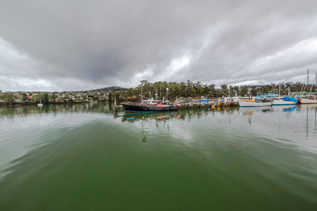 helens: Panorama of the fishing boats, port of St Helens, Georges Bay, Tasmania, Australia. St Helens is the most important city of the northeast coast and is famous for the Bay of Fires.