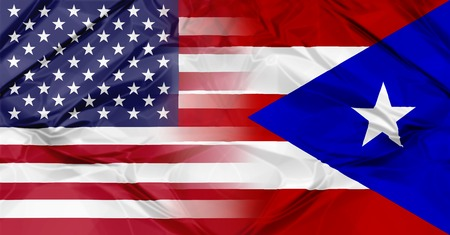 Puerto Rico and United States of America flag united in a composition about partnership and cooperation