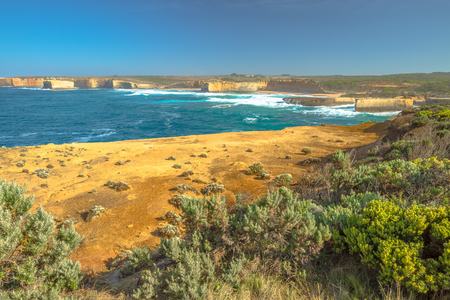 ard: Sherbrook River from Broken Head in Loch Ard Gorge, one of the main attractions of the Port Campbell National Park. Great Ocean Road, Victoria State, South Australia.