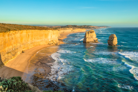gibson: Panorama of Gibson Steps by the Twelve Apostles in Port Campbell National Park on the Great Ocean Road, Victoria state, Australia. .