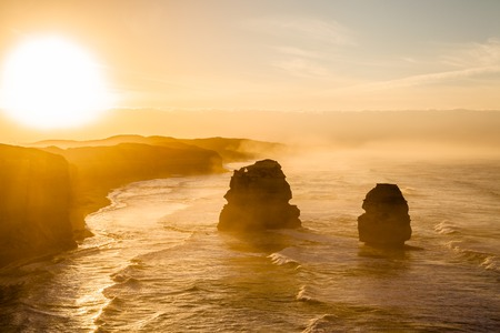 Spectacular sunset of Gibson Steps by the Twelve Apostles in Port Campbell National Park on the Great Ocean Road, Victoria state, Australia.
