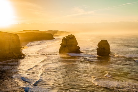 australia: Spectacular sunset of Gibson Steps by the Twelve Apostles in Port Campbell National Park on the Great Ocean Road, Victoria state, Australia.