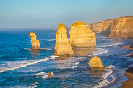Closeup of the rock stacks that comprise the Twelve Apostles in Port Campbell National Park. Great Ocean Road, Victoria State, Australia. Stock Photo