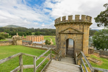 penal: The Guard Tower in Port Arthur Historic Site, in Tasman Peninsula, Tasmania, was a central part of the penal colonys Military Complex. . Stock Photo