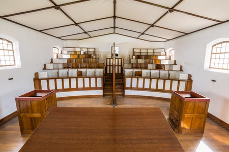 penitentiary: Port Arthur Historic Site, Tasmania, Australia - January 15, 2015: Chapel in Separate Prison, an area away from the main building of the Penitentiary where prisoners got processed and condemned.