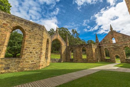 arthur: Ruins of the Church Convict, ancient historic church convict settlement, at Port Arthur Historic Site, in Tasman Peninsula, Tasmania, Australia. .
