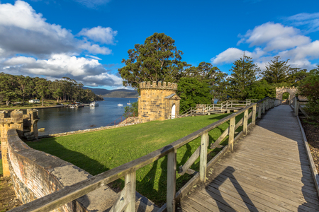 penal: The Guard Tower in Port Arthur Historic Site, UNESCO heritage, in Tasman Peninsula, Tasmania, was a central part of the penal colonys Military Complex. .