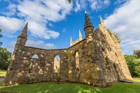 desecrated: Ruins of the Church Convict, ancient historic church convict settlement, at Port Arthur Historic Site,Tasmania, Australia. Port Arthur until 1877 was a penal colony for prisoners. . Stock Photo