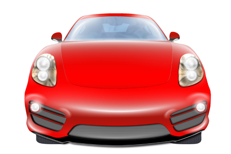 turbo: Illustration about front view of a red turbo sport car, isolated on white background. Stock Photo