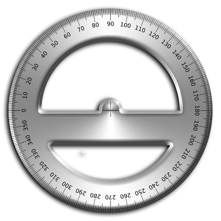 protractor: illustration of a transparent plastic protractor isolated on a white background. Stock Photo