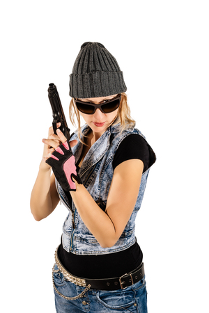undercover agent: Beautiful gangster girl holding a gun. a woman with a gun in action. or a bodyguard, detective, responsible for safety or undercover agent. Isolate on white background