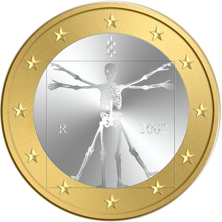 austerity: coin of euro with a skeleton in place of original symbol, Vitruviano man of Leonardo da Vinci. Concepts: death of euro currency, default, crisis, austerity, debit, Isolated on white background Stock Photo