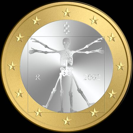 austerity: coin of euro with a skeleton in place of original symbol, Vitruviano man of Leonardo da Vinci. Concepts: death of euro currency, default, crisis, austerity, debit, Isolated on black background Stock Photo