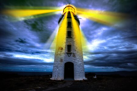 lighthouse with beam: Lighthouse beam of light and beacon of hope in the darkness. Concept of guidance, security and clear direction assistance in a journey or business strategy, the concept of hope and help