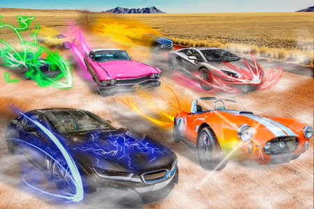 cars race: Turbo cars racing with colorful NOS on dirty desert road