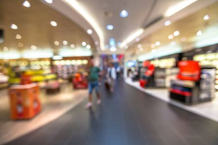 blur effect: People in the duty free shop at the airport. Blur effect. Stock Photo