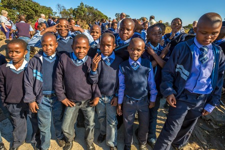 south africa nature: Blyde River Canyon Nature Reserve, South Africa - August 22, 2014: South African kids posing in school uniform.
