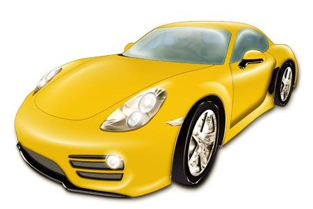 Een digitale tekening van een gele moderne sport auto, op een witte achtergrond Stockfoto