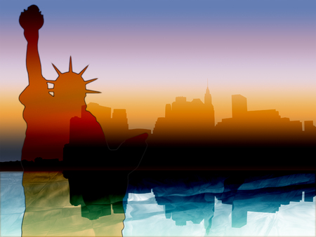 New York illustration with colorful Manhattan skyline reflected in Hudson river at sunset and the Statue of Liberty
