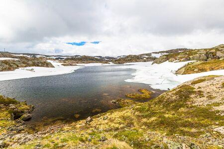fv: Lysevegen scenic road in spring FV 500: Sirdal to Kjerag, Norway, Europe.