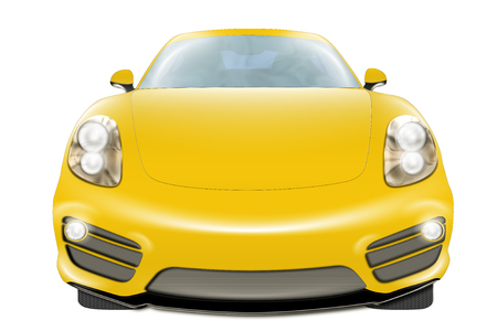 front wheel drive: A digital drawing of a yellow modern sport car, front view, isolated on white background