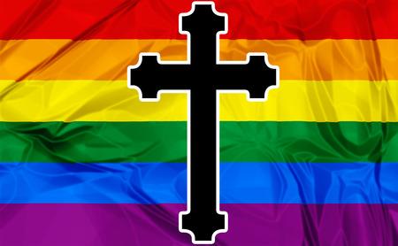 sacerdote: Ilustración sobre la bandera del arco iris de colores y una cruz negro Iglesia Católica como símbolo.