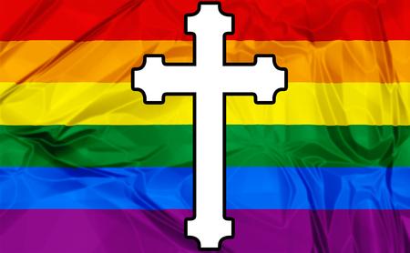 sacerdote: Ilustración sobre la bandera del arco iris de colores y una cruz blanca Iglesia Católica como símbolo.
