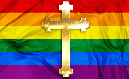 people in church: Illustration about colorful rainbow flag and a golden Catholic Church cross as symbol.