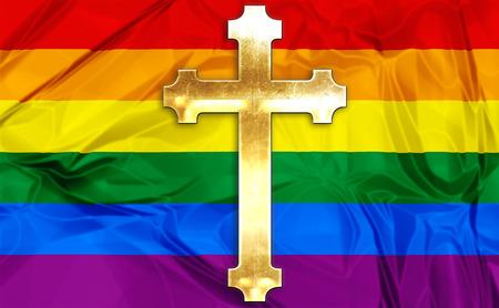 the church: Ilustración sobre la bandera del arco iris de colores y una cruz Iglesia Católica de oro como símbolo.