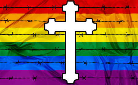 repress: Illustration about colorful rainbow flag and a white cross with barbed wire symbol of homophobia. Stock Photo