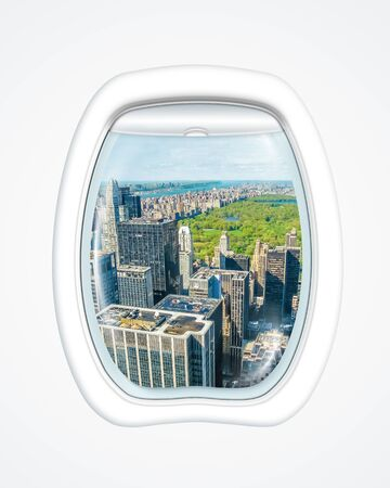aereal: Aereal view of New York skyline and Central Park on board of a plane through the porthole window.