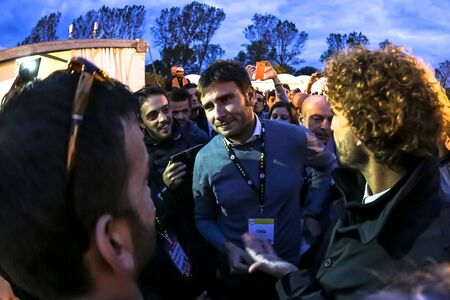 Imola, Italia - 17 ottobre 2015: intervista Alessandro Di Battista durante ITALIA 5 STELLE evento a Imola. Una convenzione politica fatta dal Movimento 5 Stelle di Beppe Grillo partito