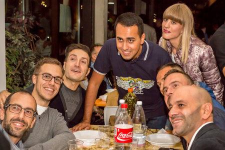 Bologna, Italia - 25 Settembre 2015: Luigi Di Maio in un ristorante a Bologna con i suoi sostenitori, nel corso di una cena-evento per il finanziamento Movimento 5 Stelle di Beppe Grillo partito
