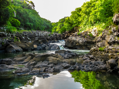 Landscape of the Black River Gorges National Park is the largest protected forest of Mauritius, Indian Ocean. 스톡 콘텐츠