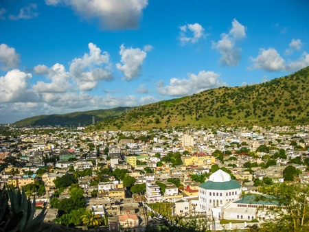 Aerial view of the city of Port Louis, Fort Adelaide overlook, La Citadelle, the capital of the Mauritius Republic, Indian Ocean.