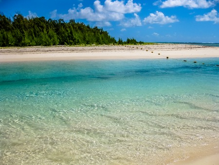 tropical island: The spectacular and idyllic white beach of Deer Island near Bellemare, located on the east coast of Mauritius, one of the main attractions.