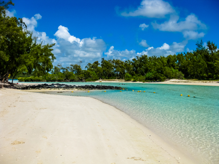island: The spectacular and idyllic white beach of Deer Island near Bellemare, located on the east coast of Mauritius, one of the main attractions.