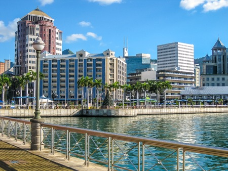 View on the Port Louis Waterfront, the capital of the Republic of Mauritius, Indian Ocean. Stock Photo