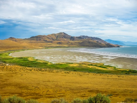 overlook: White Rock Bay at Antelope Island State Park in the Great Salt Lake, Utah,  United States. Stock Photo